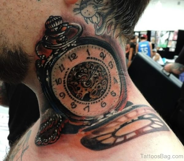 Old Clock Tattoo On Neck