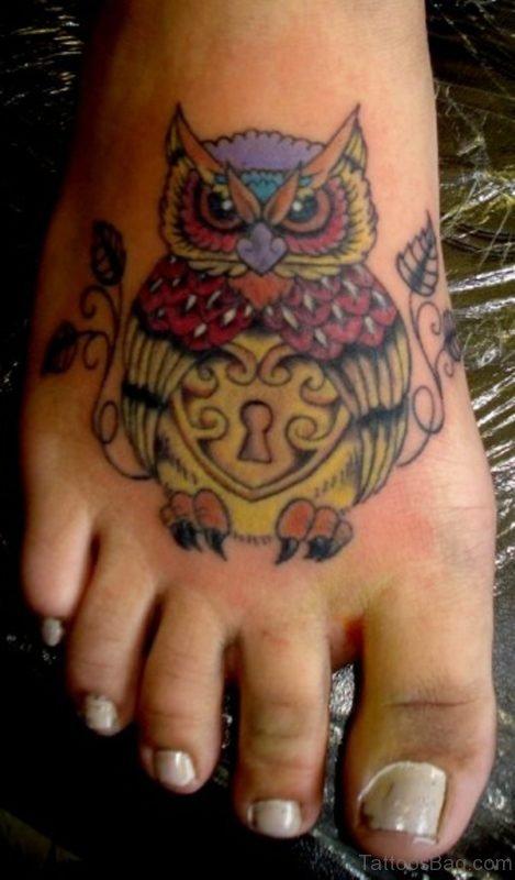 Old School Owl Tattoo On Foo