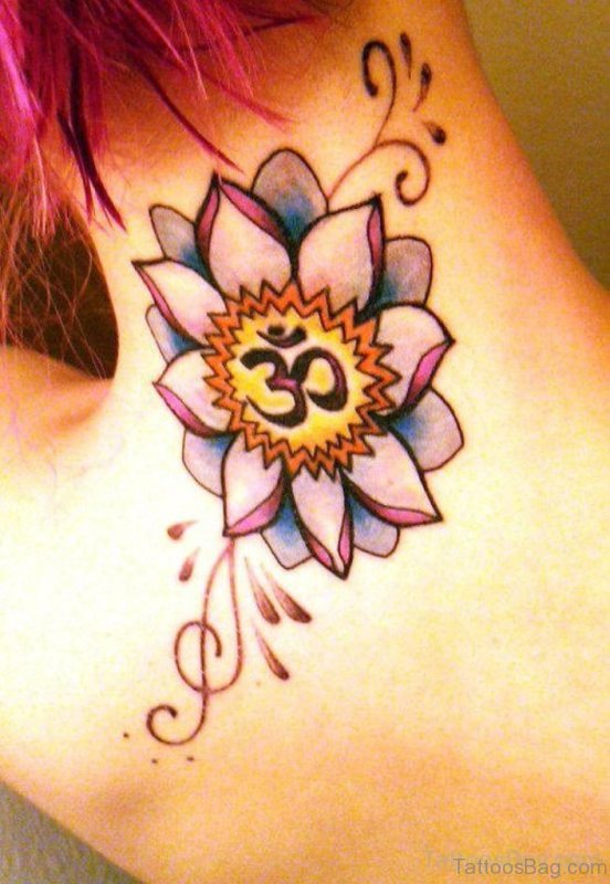 Om And Flower Neck Tattoo