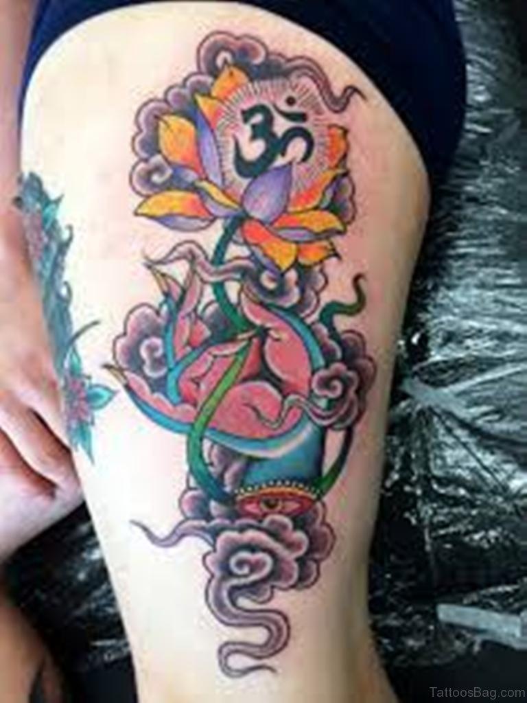 45 best lotus flowers tattoos on thigh om and lotus tattoo izmirmasajfo