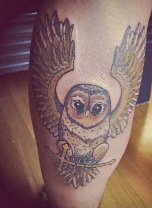 Open Wings And Owl Tattoo