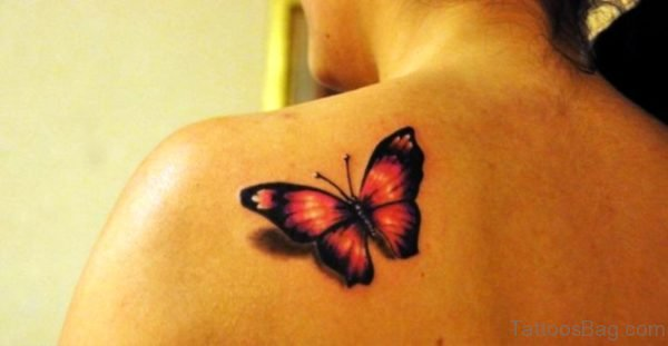 Orange And Black Butterfly Tattoo