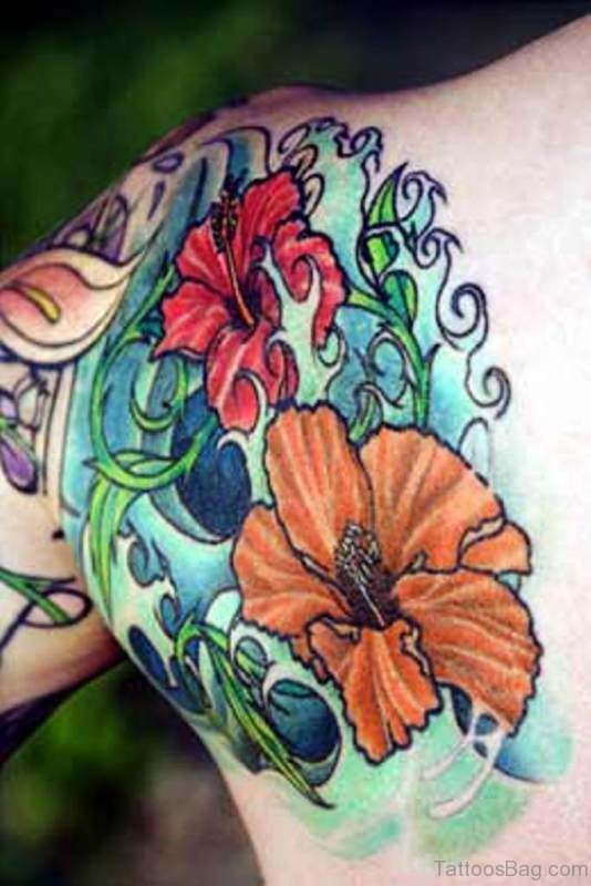 Orange And Red Flowers Tattoo