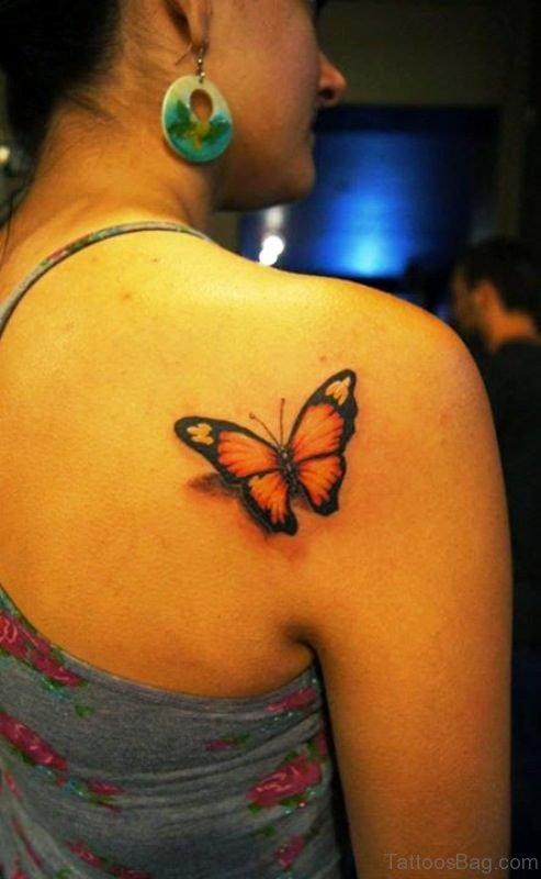 Orange Butterfly Tattoo Design