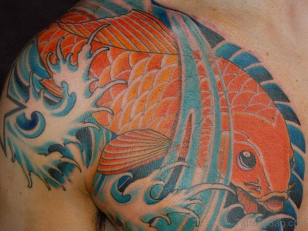 Orange Fish Tattoo On Chest