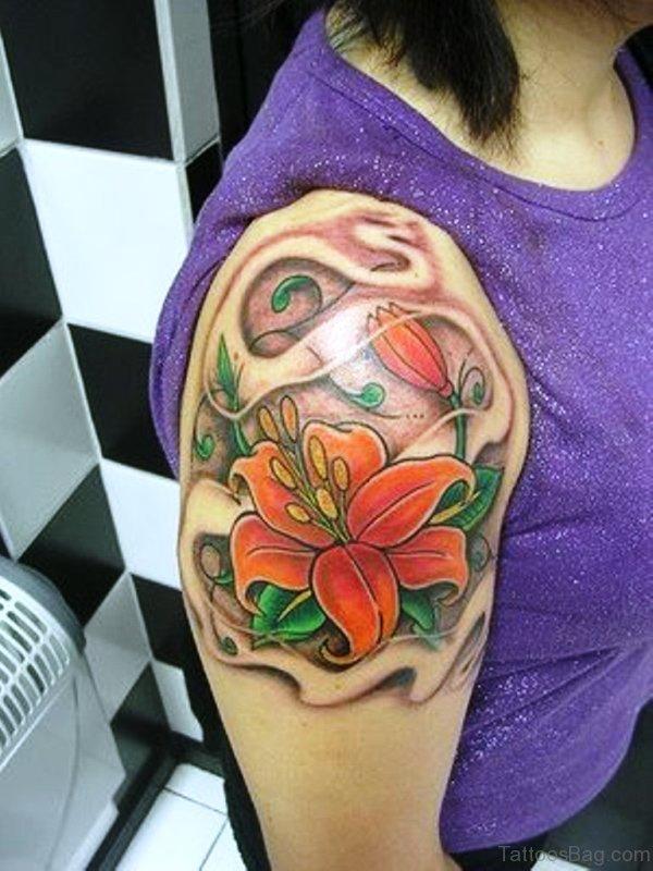 Orange Lily Flower Tattoo