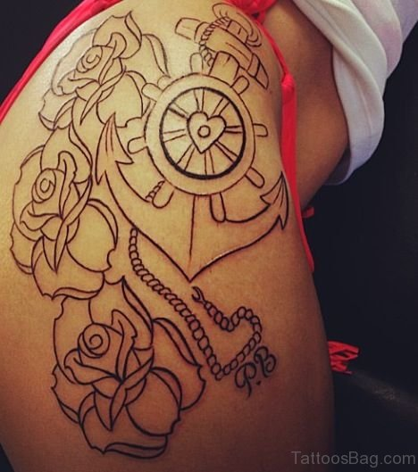 Outline Anchor Tattoo