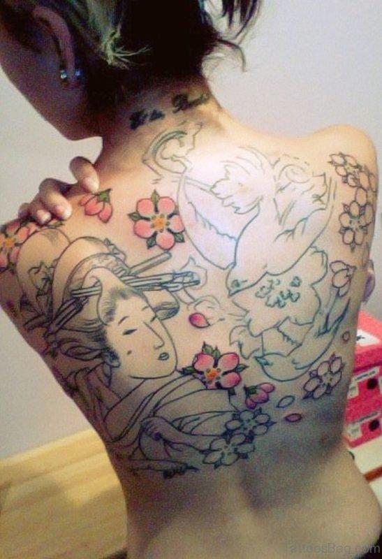 Outline Asian Geisha Tattoo