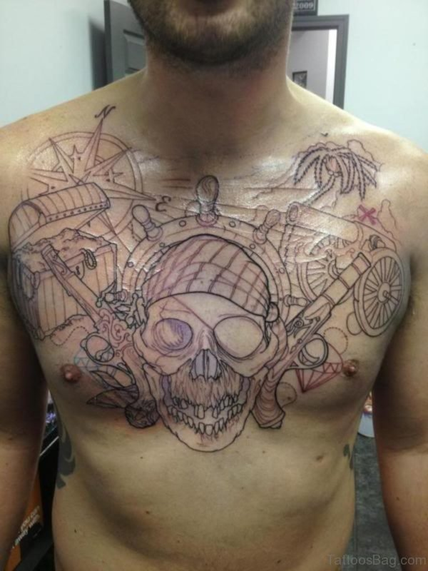 Outline Compass Skull Tattoo Design On Chest