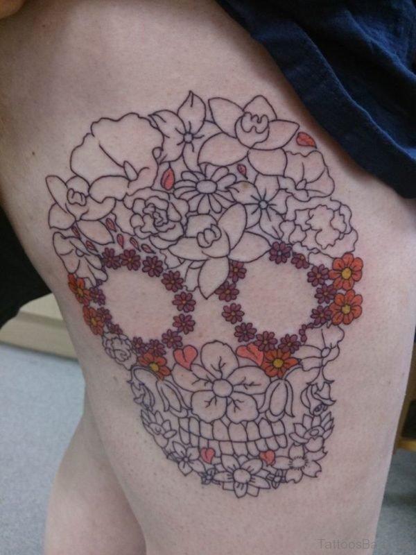 Outline Flower Skull Tattoo On Thigh