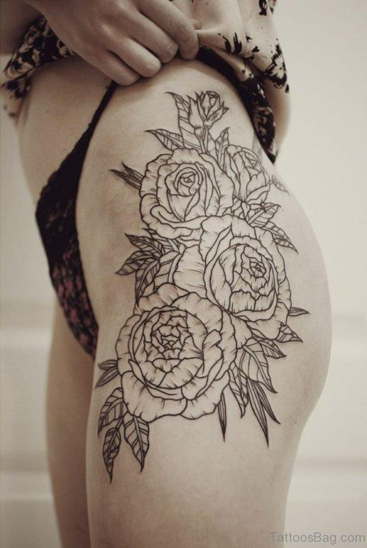 Outline Flower Tattoo
