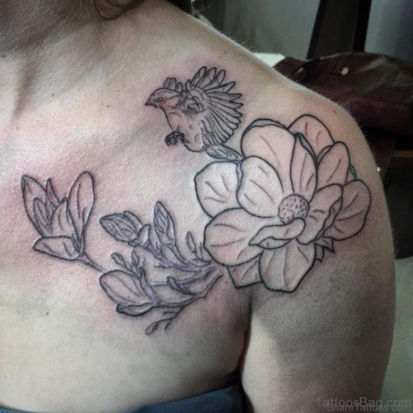 Outline Magnolia Tattoo