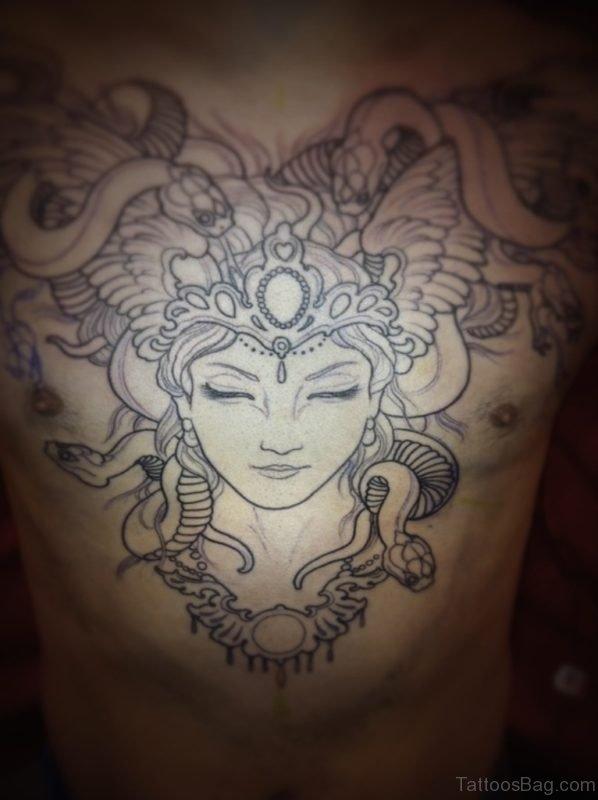 Outline Medusa Face Tattoo On Chest For Men