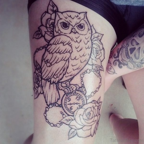 Outline Owl And Flowers Tattoo