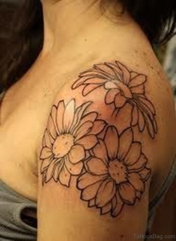 Outline Sunflower Tattoo