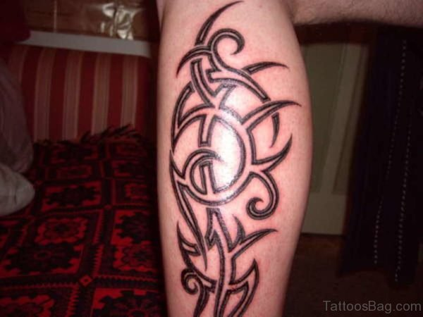 Outline Tribal Tattoo On Leg