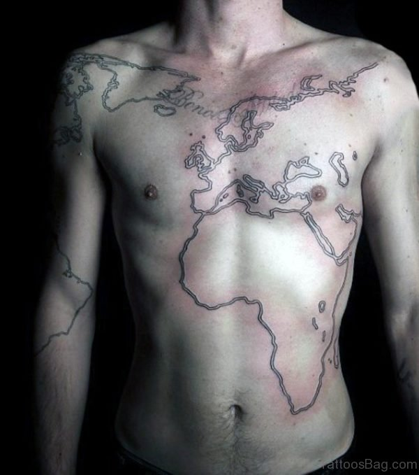Outline World Map Mens Tattoo On Chest