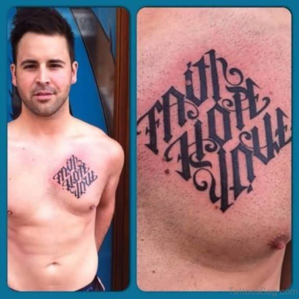 Outstanding Ambigram Font Tattoo For Men Chest