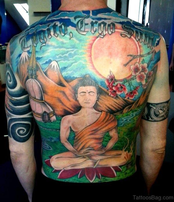 Outstanding Buddha Tattoo On Back