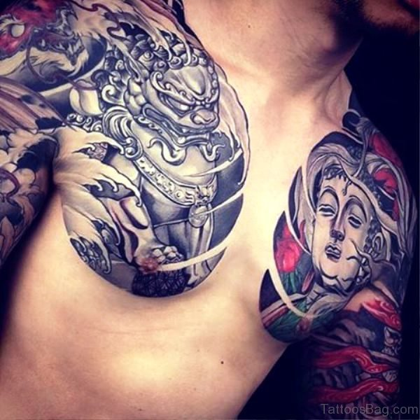 Outstanding Buddha Tattoo On Chest