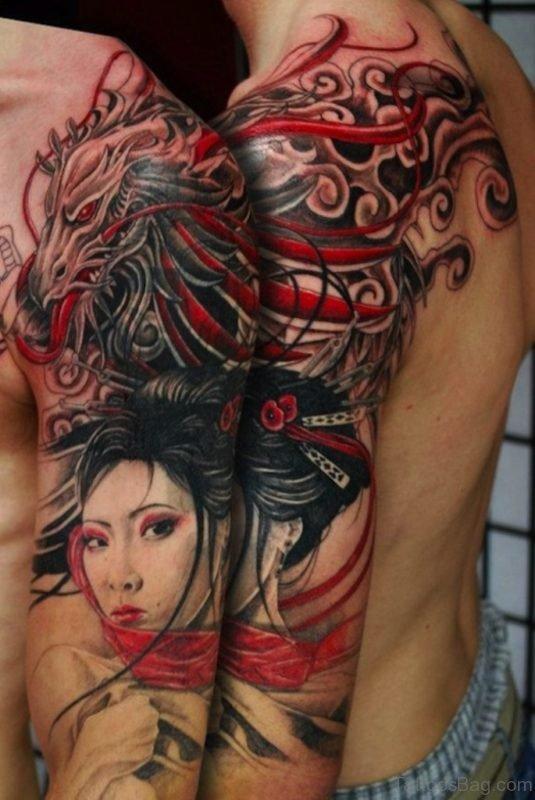 Outstanding Geisha Tattoo