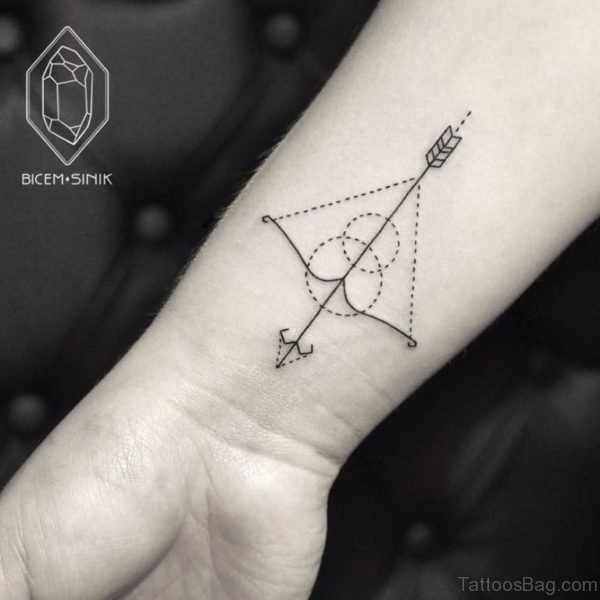 Outstanding Geometric Bow And Arrow Tattoo