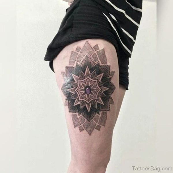 Outstanding Mandala Tattoo On Thigh