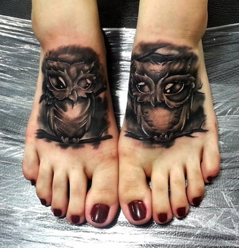 80 Outstanding Foot Tattoo Designs: 55 Impressive Owl Tattoos On Foot