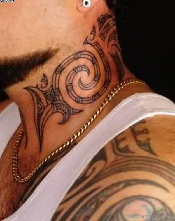 Outstanding Tribal Neck Tattoo