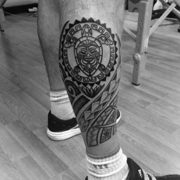 Outstanding Tribal Tattoo On Leg