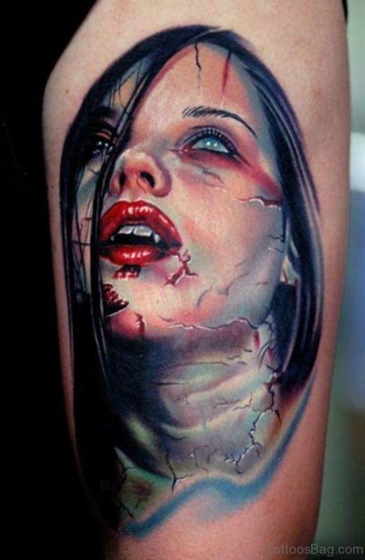 Outstanding Vampire Girl Portrait Tattoo