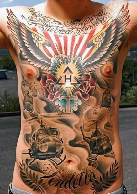 Outstanding Wings Tattoo On Chest