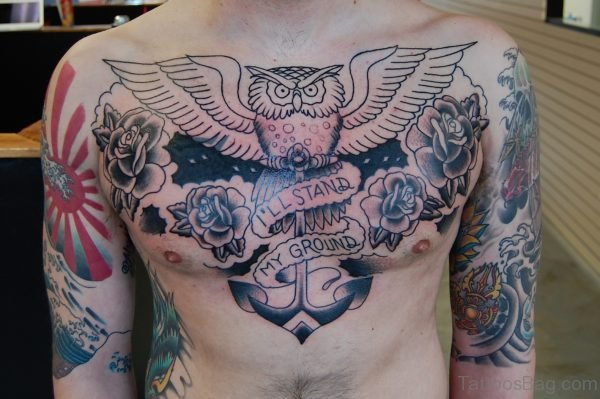 Owl Anchor And Grey Rose Tattoo On Chest
