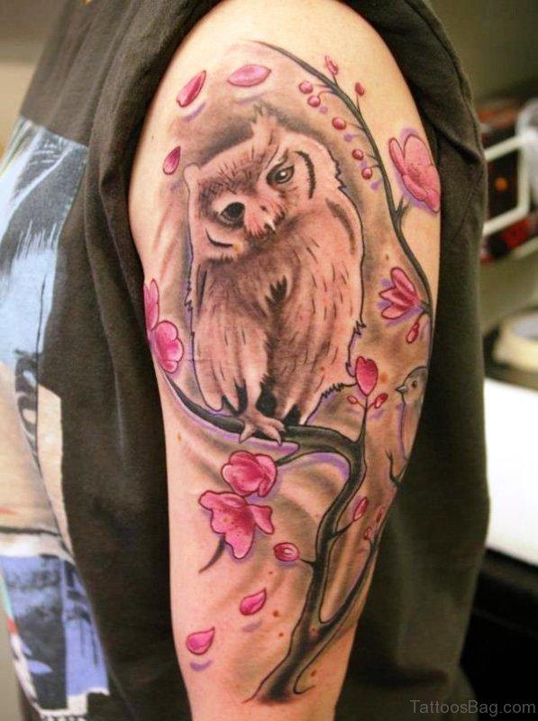 Owl And Cherry Blossom Tree Tattoo Design