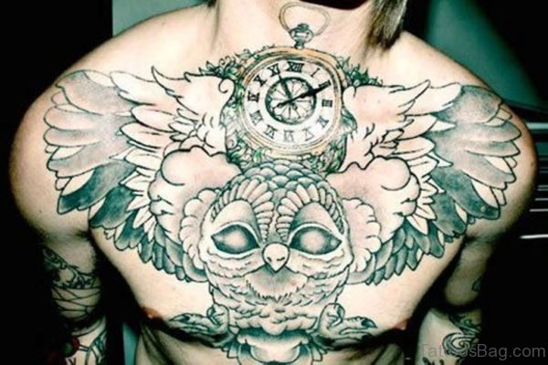 Owl And Clock Tattoo Design On Chest