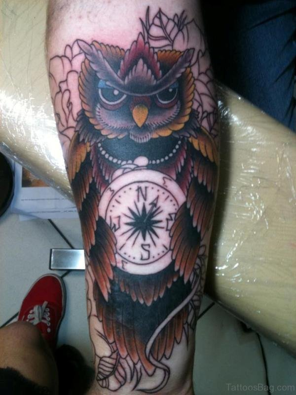Owl And Compass Tattoo