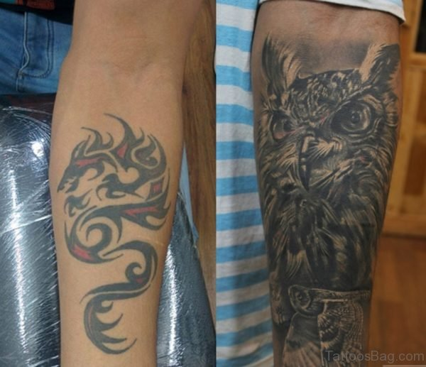 Owl And Dragon Tattoo On Both Arm