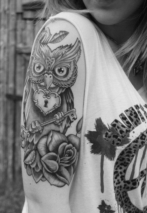 Owl And Flower Tattoo On Shoulder