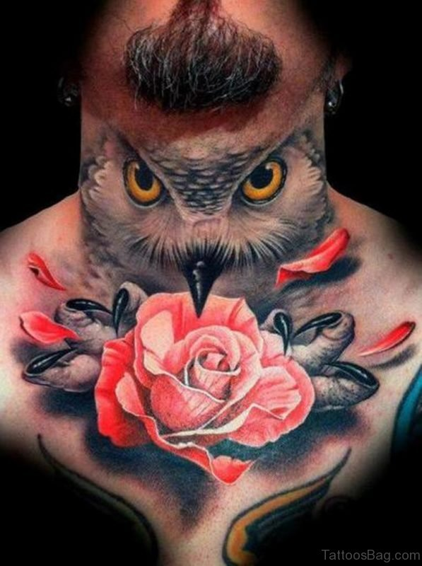 Owl And Red Rose Tattoo