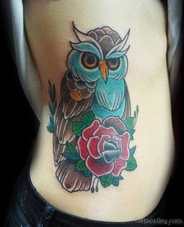 Owl And Rose Tattoo On Rib