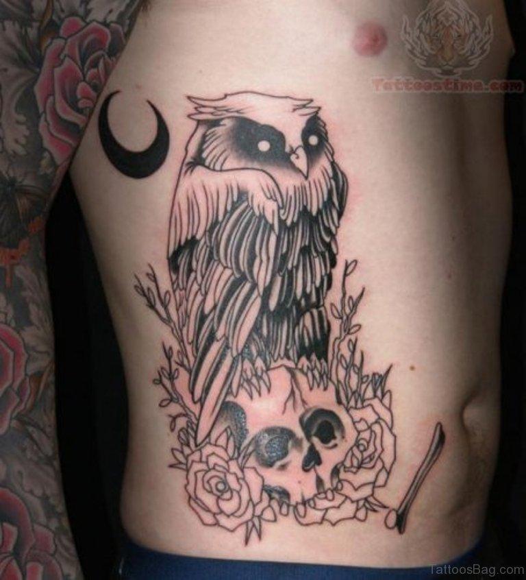 59 fabulous skull tattoos for rib for Owl tattoo skull