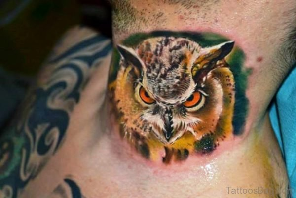 Owl Design Neck Tattoo