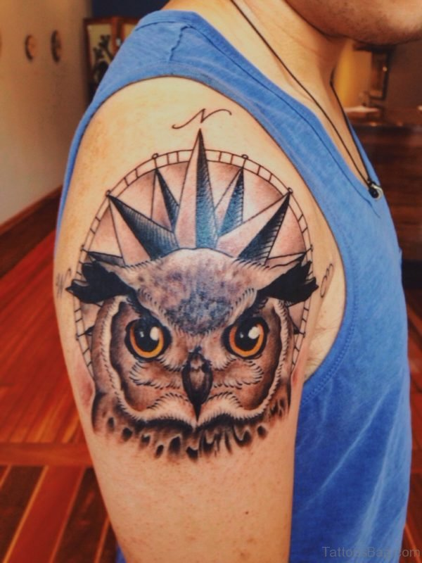 Owl In Front Of Compass Tattoo On Shoulder