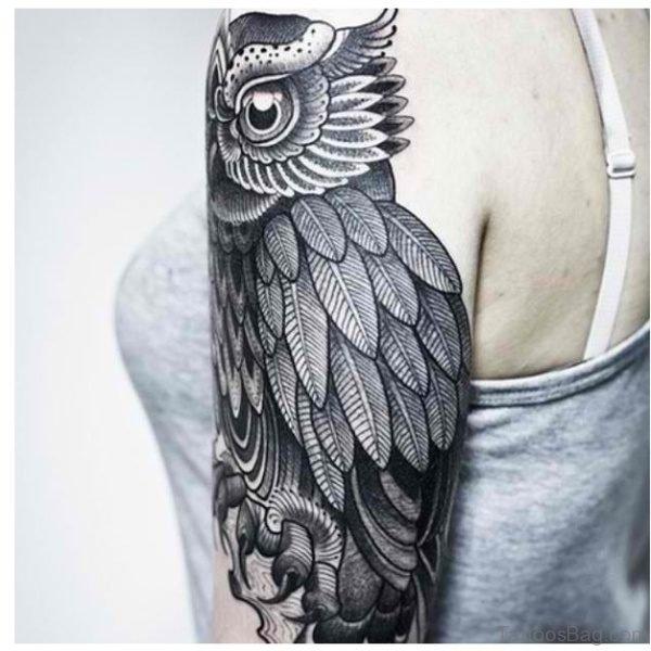 Owl Pattern Half Sleeves Shoulder Tattoo