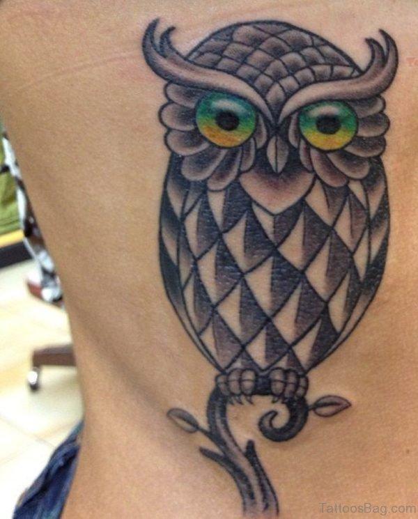 Owl Tattoo Design On Rib