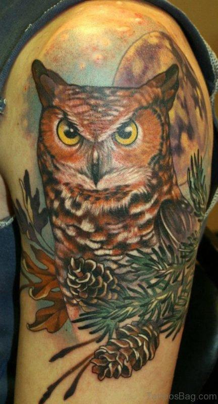 Owl Tattoo Design On Shoulder