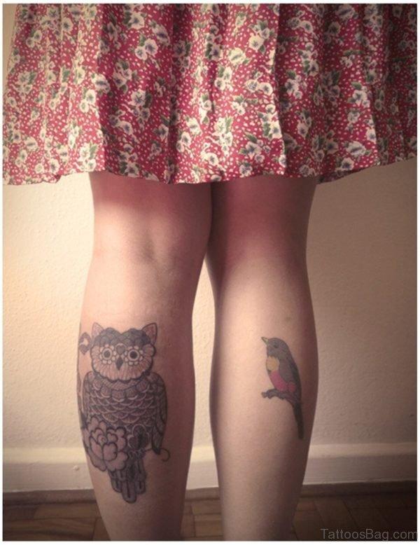 Owl Tattoo On Back Leg