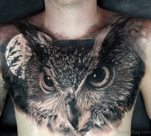 Owl Tattoo On Chest
