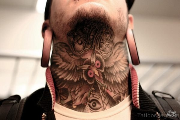 Owl Tattoo On Covered Neck