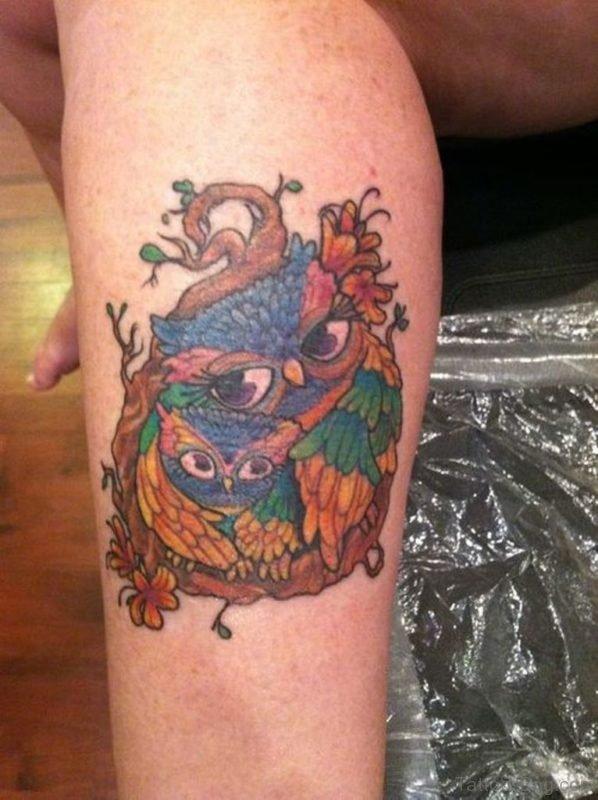 Owl Tattoo On Lower Leg